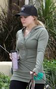 Hilary and Haylie Duff out walking their dogs 04/07/11